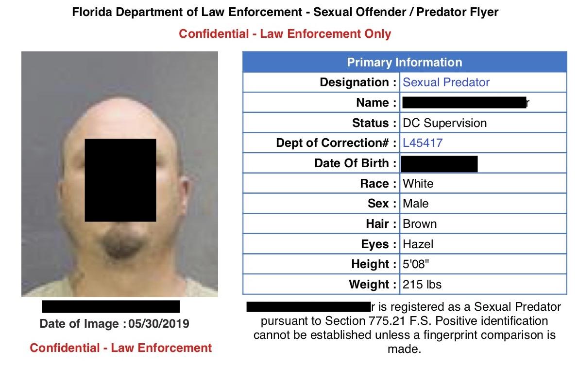 Sex Predator Notice for Watergate Estates